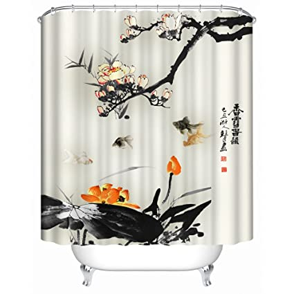Orange And Black With Koi Shower Curtain Spa Decor Kin By Nicola Water Resistant