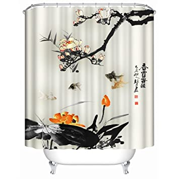 Orange and Black with Koi Shower Curtain  Spa Decor Kin By Nicola Water Resistant Amazon com