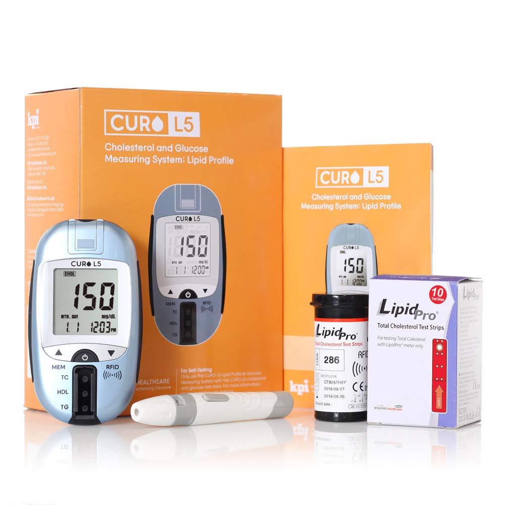 Blood Cholesterol Test Kit - Curo L5 Digital Meter - Self Home Testing Monitor. Cholesterol Test Kit by KPI Healthcare ''CURO L5'' (Image #1)