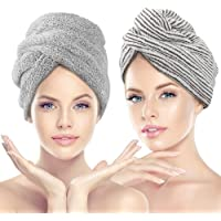 Paquete de 2 toallas de pelo de INTSUN con tapa de microfibra anti encrespamiento absorbente y suave ducha seca sombrero…