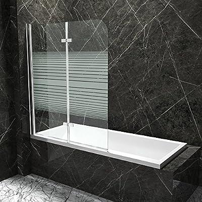 Cuerpo baño ® bañera plegable pared nassau04ms de cristal de seguridad templado de 6 mm en transparente cristal con medio de rayas, dimensiones: BxH: 120 x 140 cm, incluye superficie de la