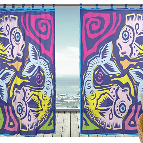ZOEO Tulle Voile Window Decoration Sheer Curtain,Colorful Ethnic Art 12 Constellation Horoscope Pisces,2 PCS Gauze Curtain Drape Panel Valance 55 x 78 inch