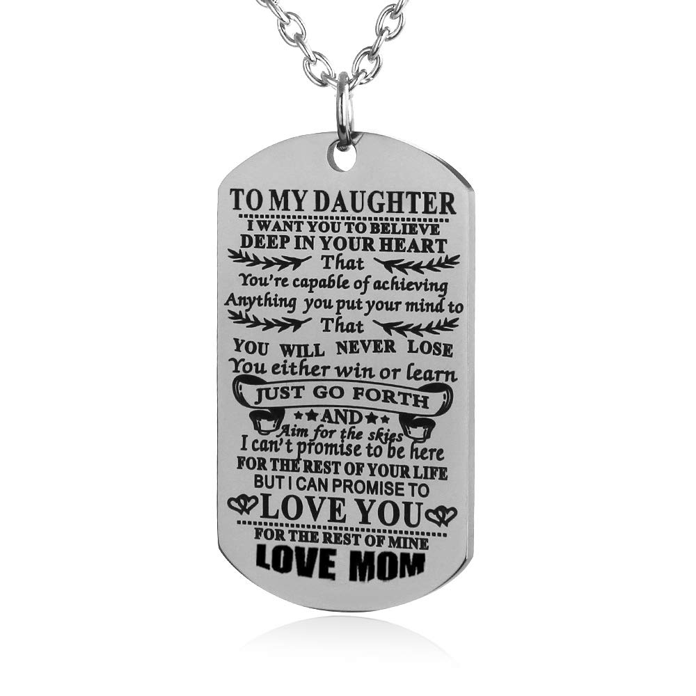 8c476f545641f FAYERXL to My Son Daughter I Want You to Believe Love Mom Dad Dog Tag  Necklace Birthday Gift Ideas