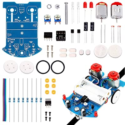 ICStation Simple Robot, Soldering Practice Kit, Line Following Tracking Smart Car (Stepper Motor), Electronic DIY Assemble Kit for Student Science STEM Learning Project: Industrial & Scientific