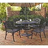 Home Styles 5554-308 Biscayne 5-Piece Outdoor Dining Set, Black Finish, 42-Inch For Sale
