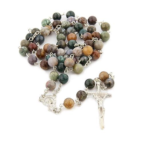Amazon.com: Collar de rosario con cuentas de ágata de la ...