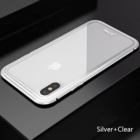 new concept 20b2d 6f1a1 Mobi Case(TM) Apple iPhone X Magnet Absorption Aluminum Metal Frame Magneto  Flip Phone case with Anti-Scratch Tempered Glass Back Cover for i Phone X  ...