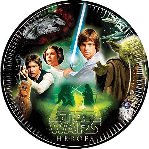 ALMACENESADAN 2557 Paquete de 8 Platos de carton Disney Star Wars Ideal para Fiestas y cumpleanos diametro 23 cm