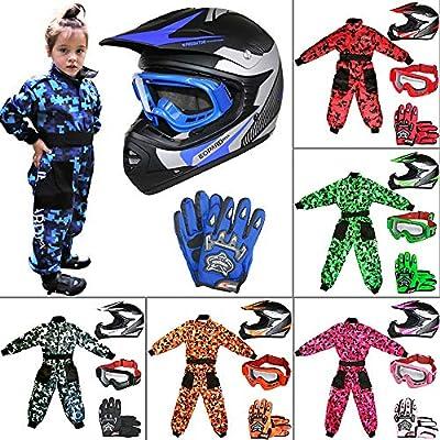 S 5cm Leopard LEO-X16 Red Kids Motocross Helmet M 7-8 Yrs /& Goggles /& Camo Motocross Suit Jacket /& Gloves S 49-50cm