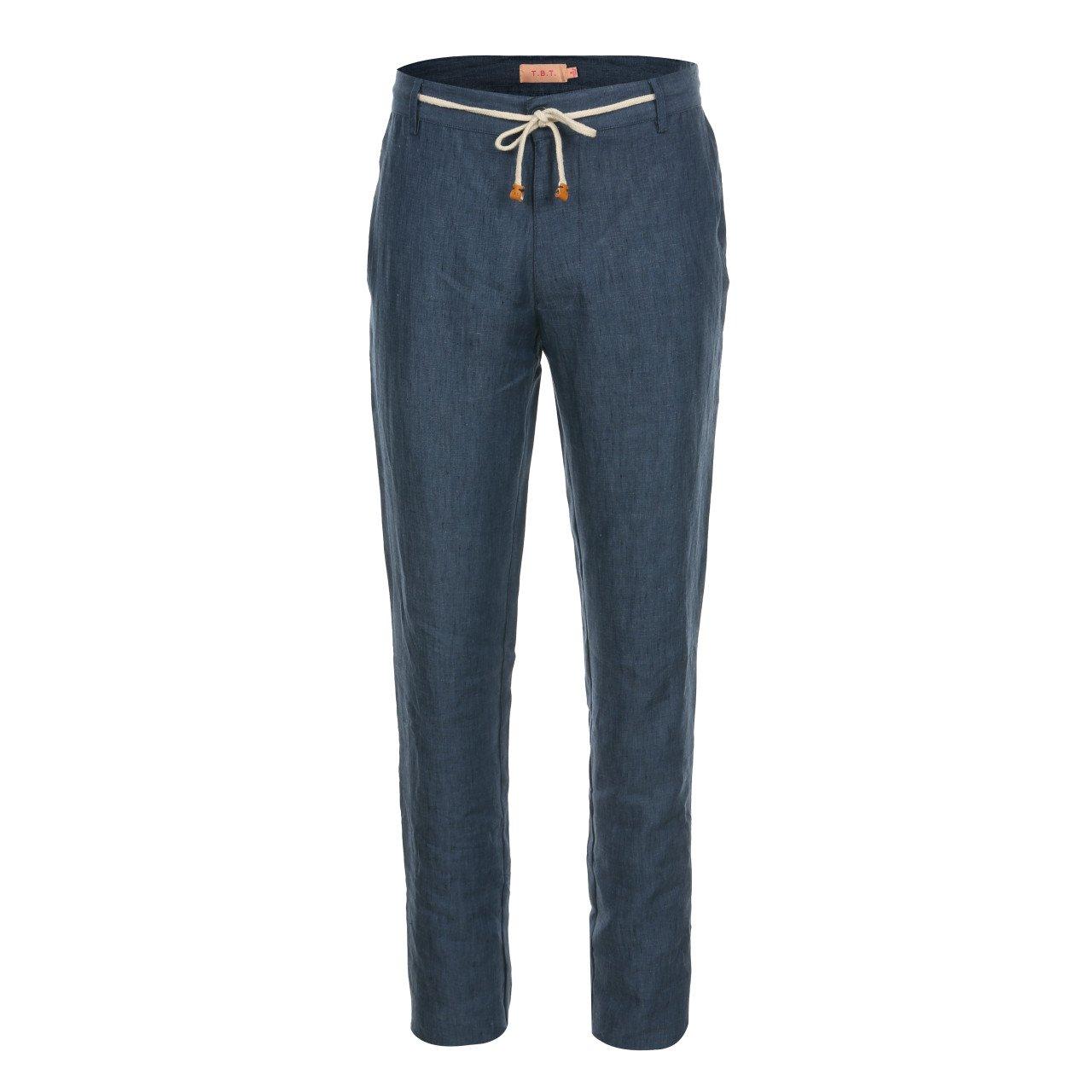 T.B.T. Men's Casual Slim Straight Linen Pants Waist Drawstring Trim (A71P01-NAVY-M)