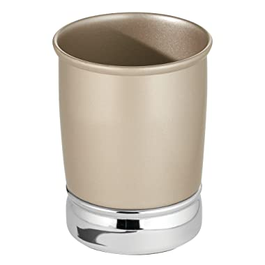 InterDesign York Tumbler Cup for Bathroom Vanity Countertops, Brushed Stainless Steel/Pearl Champagne