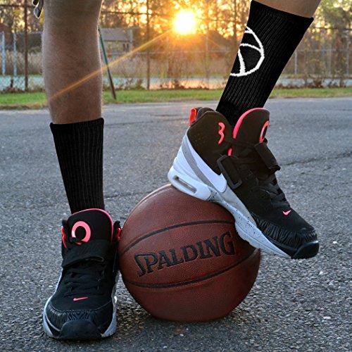 Athletic Half Cushioned Crew Socks | Basketball Silhouette Design | Black/White