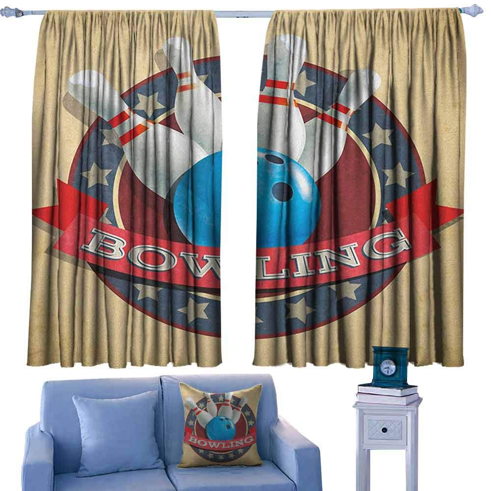 Bowling Party Curtains and Drapes Old Fashioned Retro Circular Sport Emblem Stars Ribbon with Typography Design,Print Customized Curtains,W52 x L95 Inch by ParadiseDecor