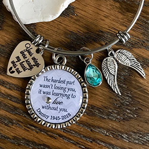 The hardest part wasn't losing you it was learning to live without you jewelry PERSONALIZED custom charm bracelet loss of loved one quote mom dad ()