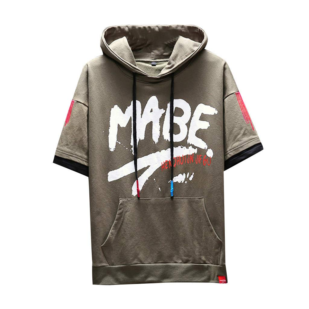 Zackate Mens Drawstring Hooded T-Shirts for Men Short Sleeves Hip Hop Style Hoodies Sweatshirts Top Blouse Green