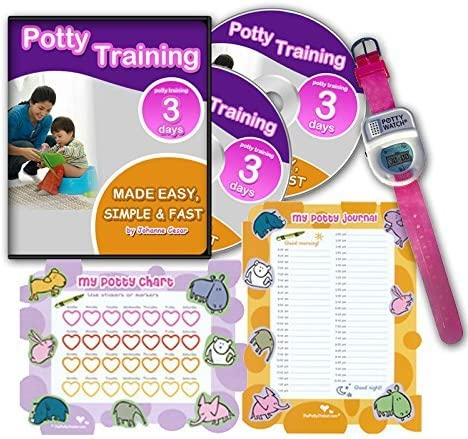 Potty Training In 3 Days - Ultimate Potty Training for Girls. Complete Kit Includes Potty Training In 3 Days Audio Guide, Laminated Potty Training Charts & Pink Potty Time Watch (Pink)