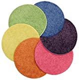 Bright Multi Set 6 CHILDREN'S CRAZY CARPET CIRCLE SEATS 18'' Round Rug Mats