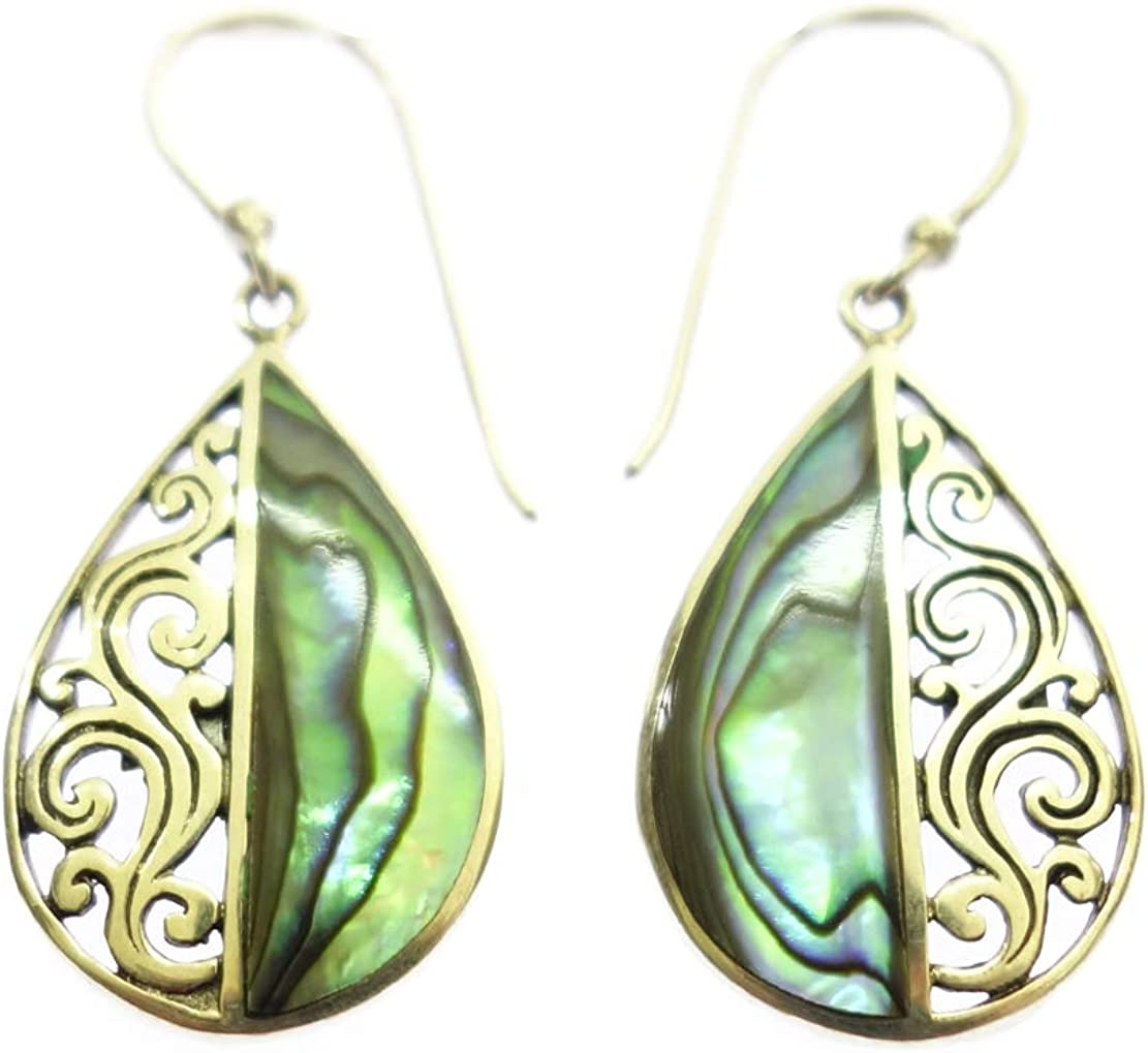 925 STERLING SILVER /& ABALONE SHELL UNIQUE DESIGNER MODERN HANDMADE EARRING JEWELRY BY ARTISANS AUTHENTIC BALINESE FASHION DROP DANGLE FILIGREE EARRING FOR WOMEN /& GIRLS