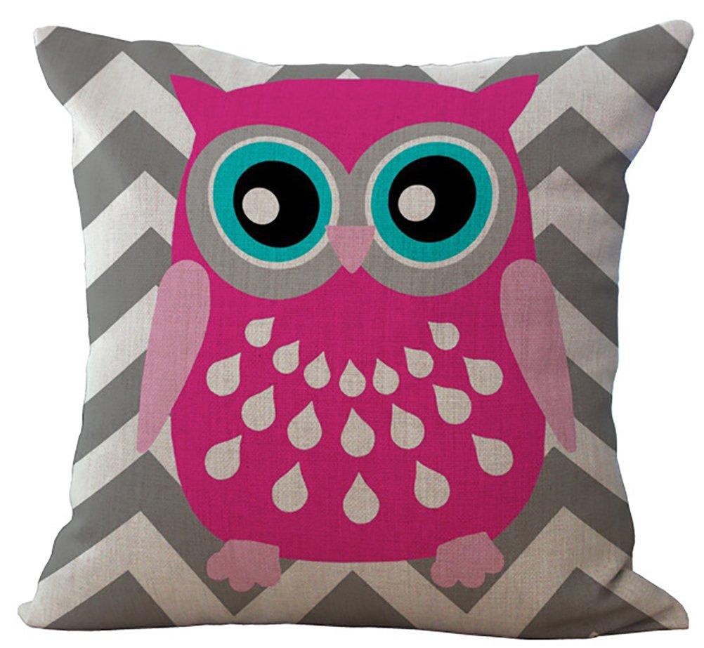 ChezMax Linen Blend Rural Style Owl Pattern Cushion Cover Cotton Pillowslip Square Decorative Throw Pillow Case 18 X 18