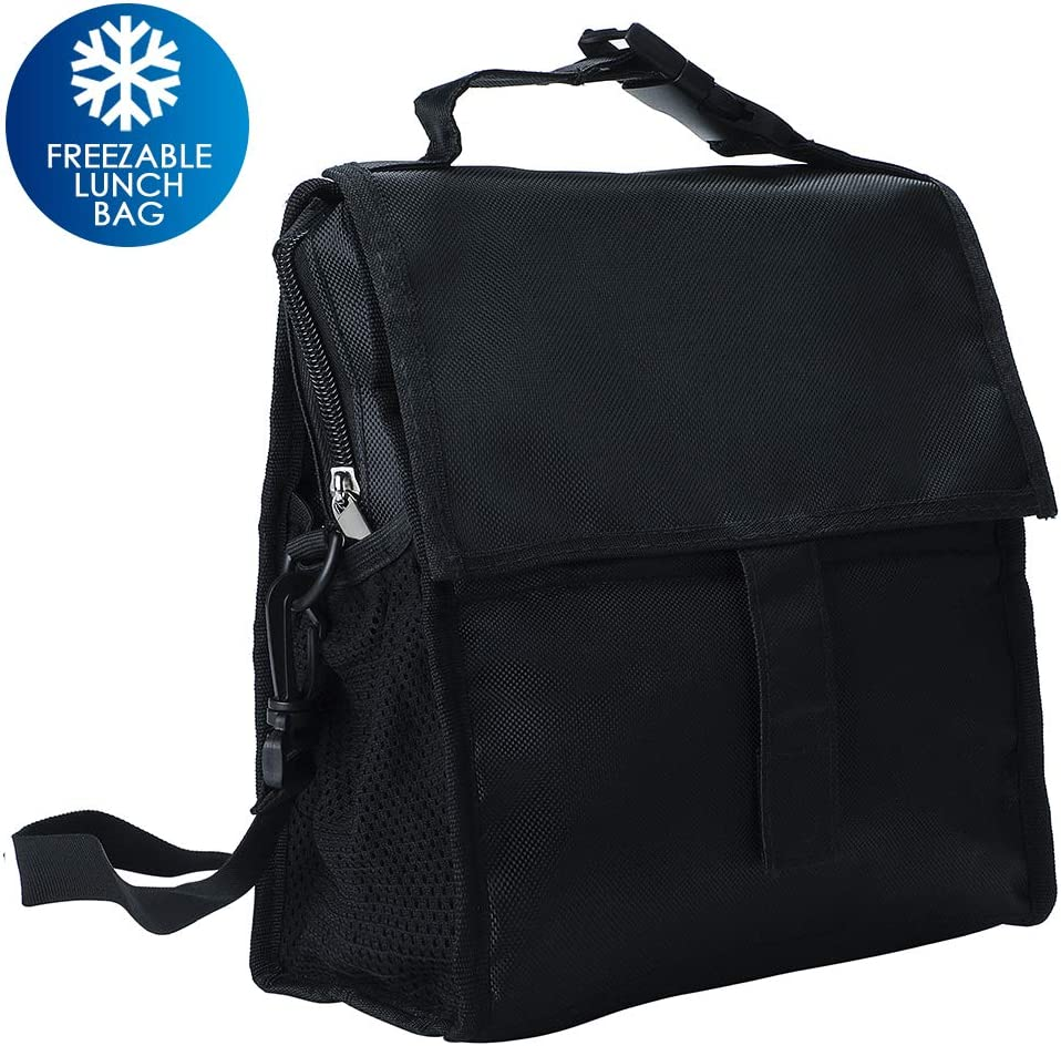 Freezable Lunch Bag, Delamu Insulated Lunch Bag with Shoulder Strap, Resuable Lunch Tote for Kids/Men/Women, L10.24in W5.32in H8.66in, Black