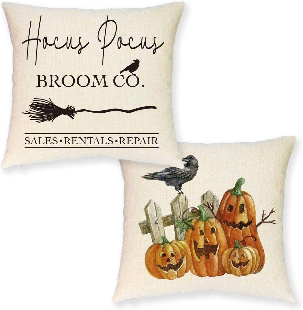 JYNHOOR Halloween Pillow Covers 18x18 Inch –Set of 2 Rustic Farmhouse Hocus Pocus Pumpkin Decorative Pillow Covers for Halloween Decor-Halloween Sofa Pillowcases