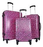3pc Luggage Set Hardside Rolling 4wheel Spinner Carryon Travel Case Poly Pink Cheetah