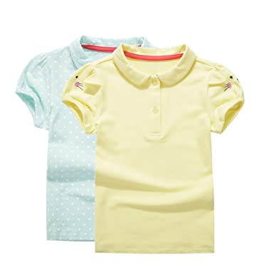 8fa800122 UNACOO Toddler Girls Pure Cotton Short Sleeves Polo Shirt with Picot Collar  Pack of 2 (. Roll over image to ...