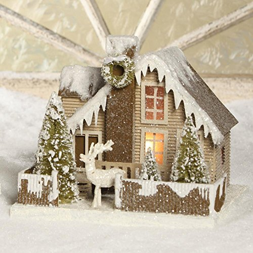 "Bethany Lowe 10"" Woodland Cottage and Deer Christmas Mantel House"