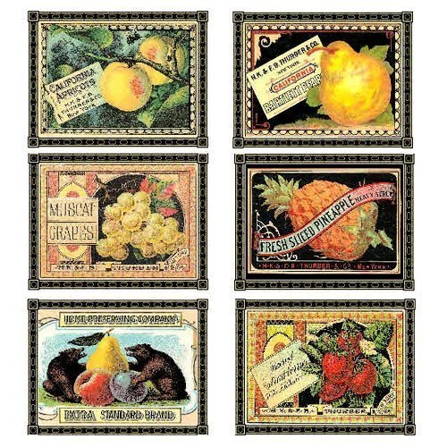 Labels Note Cards - Botanical Print Collection (Fruit Crate Label)