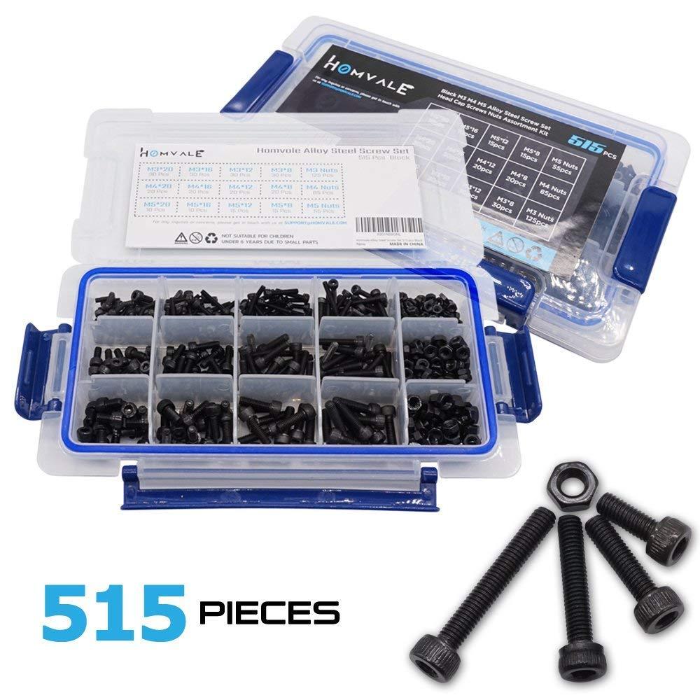Alloy Steel Black Screw and Nuts 515 pcs, Grade 12.9 Black M3 M4 M5 Hex Socket Head Cap Screws Assortment Set Kit