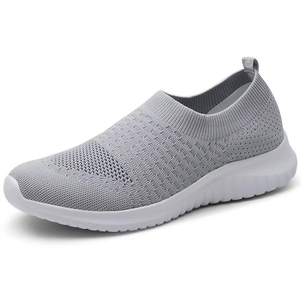 LANCROP Women's Lightweight Walking Shoes - Casual Breathable Mesh Slip on Sneakers 8.5 US, Label 39 Grey