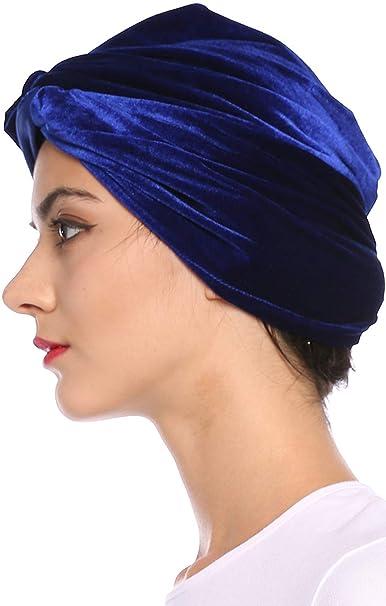 Sombrero De Mujer Suave Dorado Turbante Sólido Terciopelo Musulmán Cáncer  Pérdida Del Años 20 Cabello Sombrero Gorros Gorro (Color   2 Colour 1 4541b4e63b0