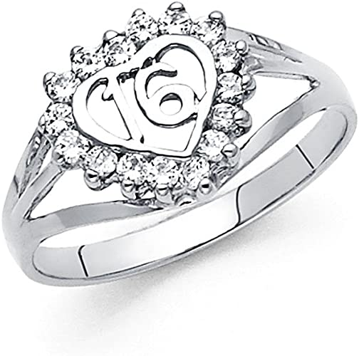 Amazon Com Heart Sweet 16 Ring Solid 14k White Gold Band Birthday