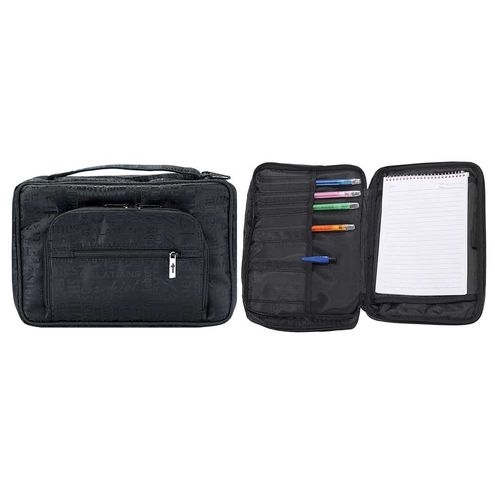 Black Front Pocket 8 x 11 inch Heavy Duty Jacquard Bible Cover Case with Handle
