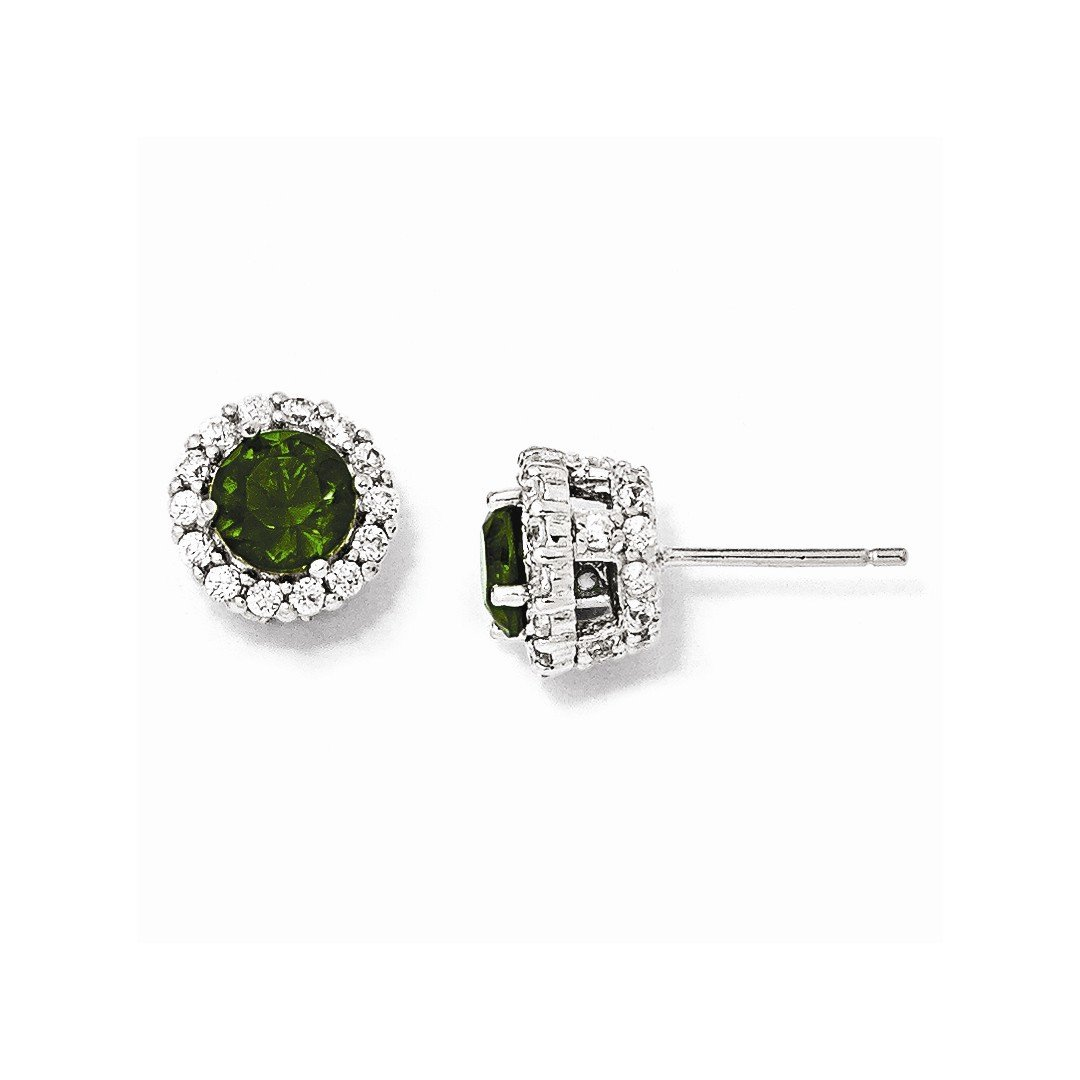ICE CARATS 925 Sterling Silver Glass Simulated Green Emerald Cubic Zirconia Cz Round Post Stud Ball Button Earrings Fine Jewelry Gift Set For Women Heart