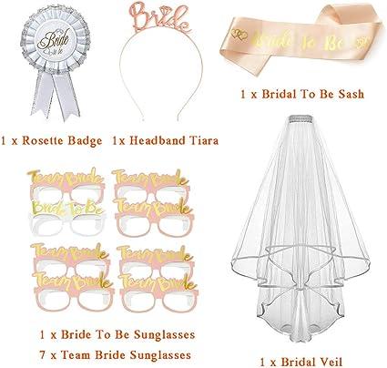 voile avec couronne de fleur Lot de 5 accessoires pour mariage rosette et jarreti/ère. lunettes de soleil enterrement de vie de jeune fille mari/ée /à /être
