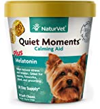 NaturVet – Quiet Moments Calming Aid for Dogs - Plus Melatonin – Helps Reduce Stress & Promote Relaxation – Great for Storms, Fireworks, Separation, Travel & Grooming