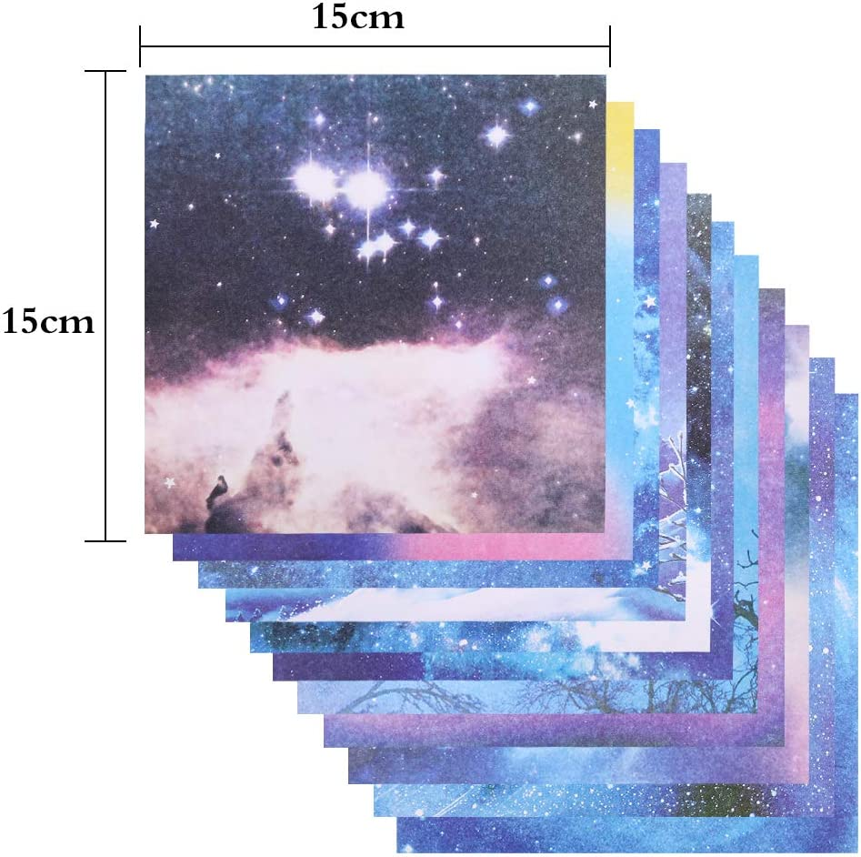 6 x 6 inch zhoushengmeizhuang Space Star Origami Paper for Arts and Crafts Kids 150 Sheets 15 x 15cm