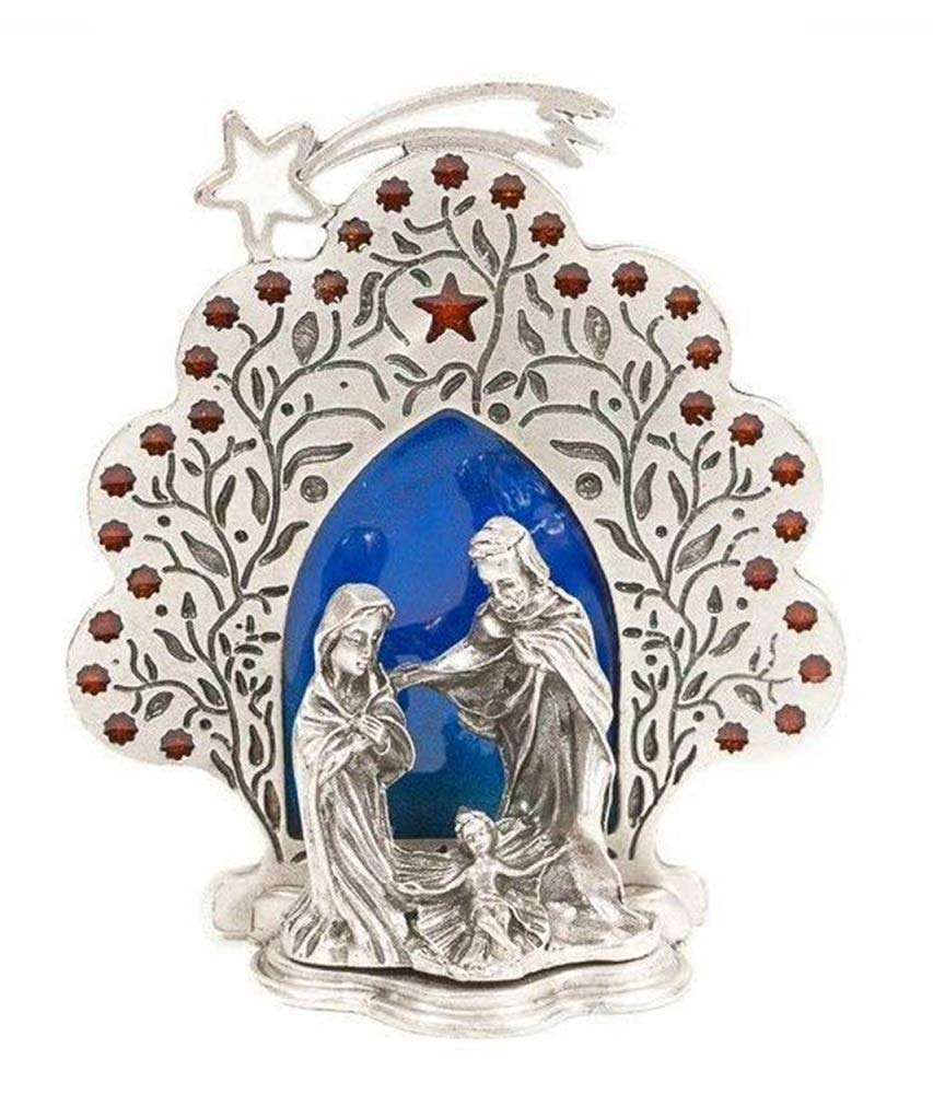 D/écoration de No/ël Cr/èche Sainte Famille avec /Ètoile plaqu/é argent