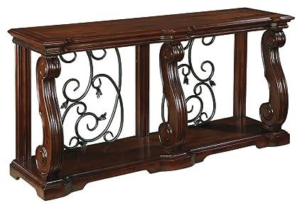 Ashley Furniture Signature Design   Alymere Sofa Table Or Entertainment  Console   Rectangular   Rustic Brown