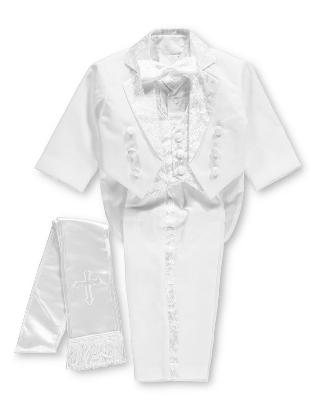 Pretty Me Baby Boys' Embroidered 6-Piece Christening Tuxedo - white, 6 months