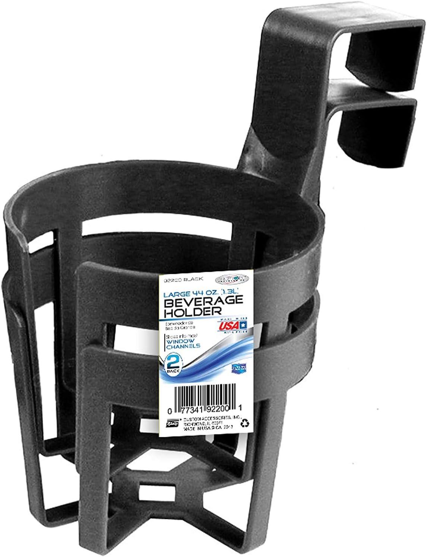 Custom Accessories 92200 Large Plastic Cup Holders, Black, 2-Pack