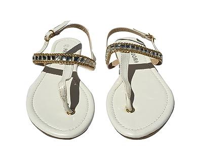 e07cd1529bd1 StyleUpGirl Women s White Chain Thong Shell Sandal (White ...