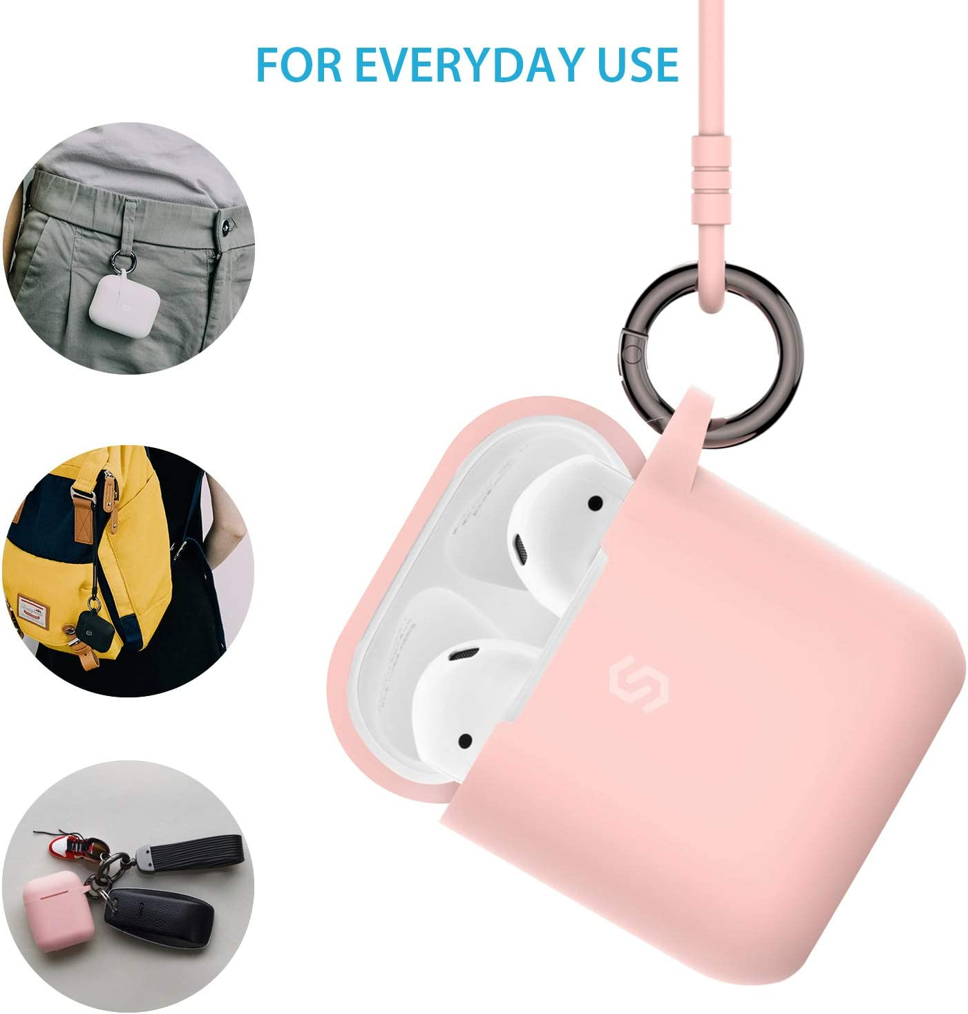 Syncwire Full Protective AirPods Case Front LED Visible Cover for Airpods 2 /& 1 Waterproof /& Shockproof Pink Ultra Soft Flexible /& Premium Durable Silicone Skin Case with Keychain