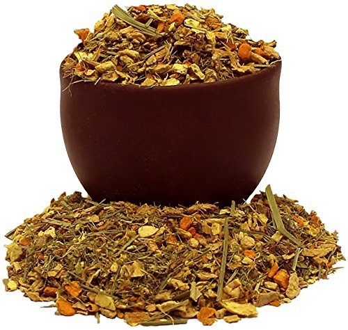 Capital Teas Organic Premium Turmeric Ginger Herbal Tea, 4 Ounce -Loose Leaf, Decaf, Kosher, Antioxidants Rich, Anti-Inflammatory Properties