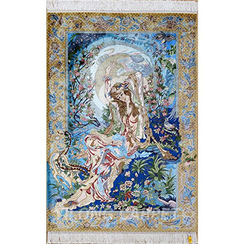 Yilong 3'x4.5' Handmade Persian Oriental Silk Rug Tapestry Daughter of Sea Portrait Traditional Handwoven Living Room Carpet Wall Hanging Carpet (3 Feet by 4.5 Feet, Blue) 0023 - Persian Silk Tapestry