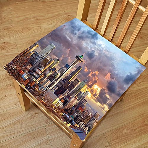 Nalahome Set of 2 Waterproof Cozy Seat Protector Cushion Apartment Decor Collection Seattle Skyline at Sunset WA USA Sun Lights Through Dramatic Clouds Scene Pattern Grey Blue Printing Size - Skyline Sunglasses Seattle