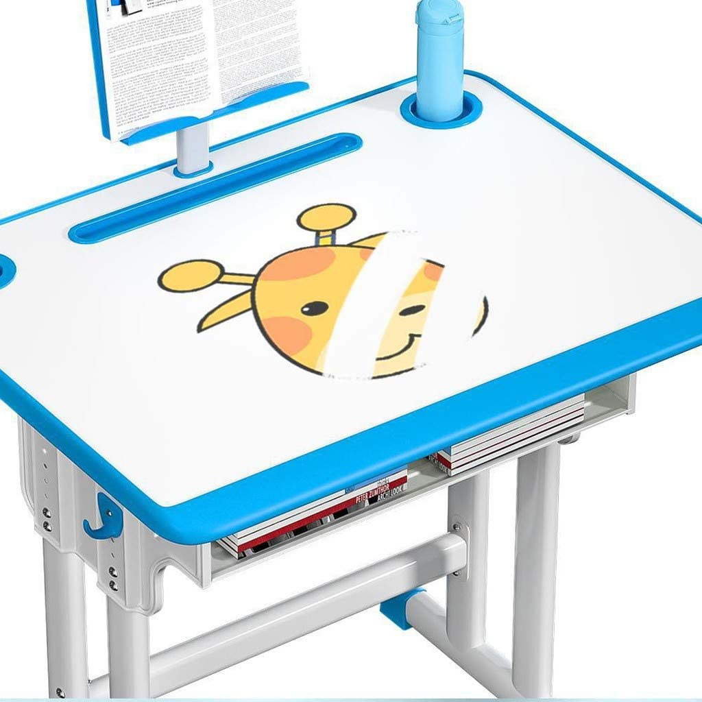 Height Adjustable Kids Study Table and Chair Set Shimigy Children Desk Normal Drawer Blue Multifunctional School Student Writing Desk with Led Lamp//Bookstand
