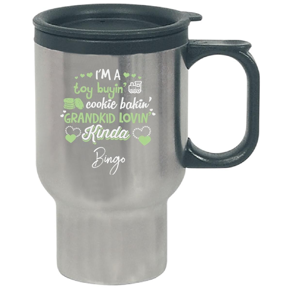 Grankid Lovin' Kinda Bingo Name New Grandmother - Travel Mug