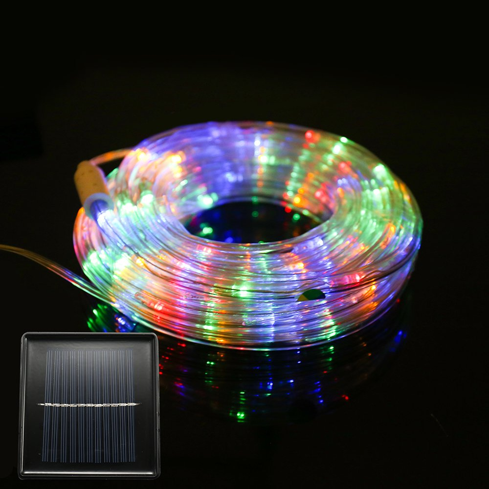 FUNIAO 33ft 240LED Solar Rope Lights LED String Lights Waterproof Solar Powered Decoration Light for Gardens, Patios, Homes, Parties (Multi Color)
